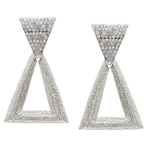 Glass Stone Pave Textured Metal Triangle Shape Drop Earrings