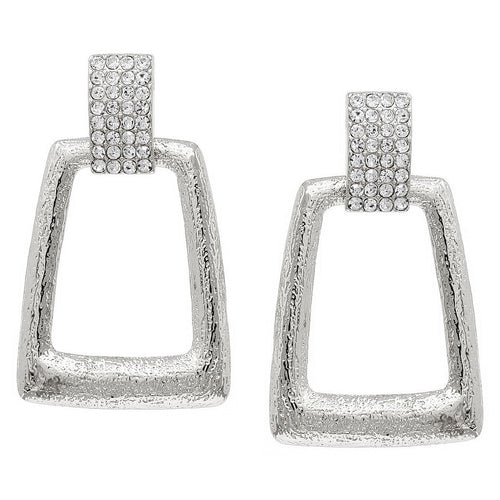 Glass Stone Pave Textured Metal Trapeze Shape Drop Earrings