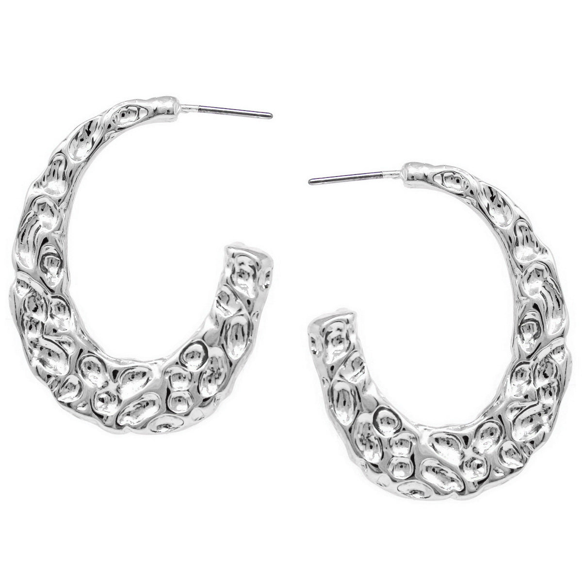 Textured Metal Oval Hoop Earrings