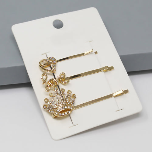 Heart / Love / Crown Bobby Pin Set