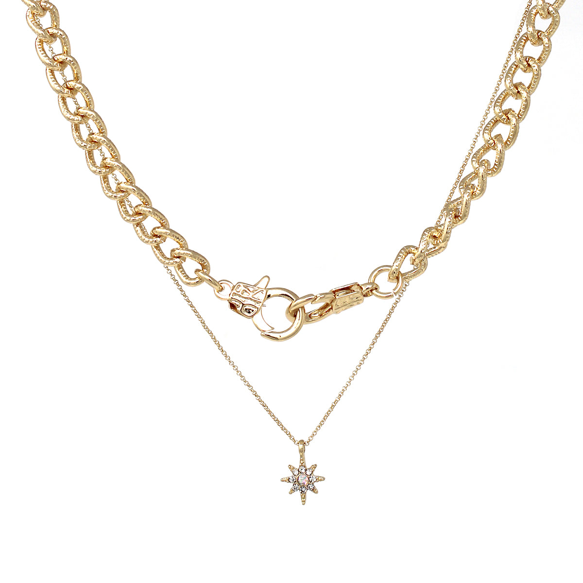 Textured Chain And Rhinestone Pave Starburst Pendant Necklace Set