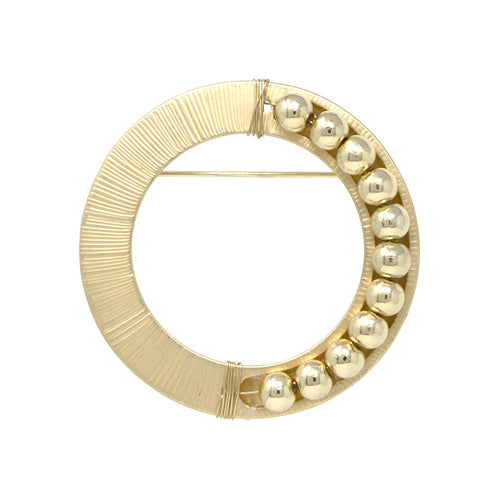 Textured Hoop With Metal Ball Bead Brooch