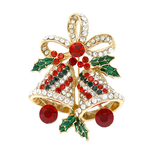 Pave Rhinestone Christmas Bells With Bow Holiday Pin Brooch