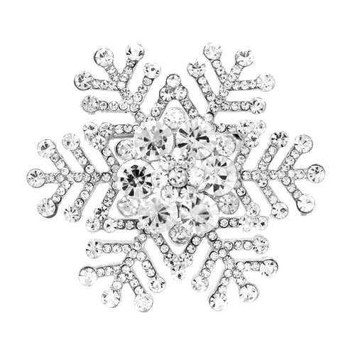 Pave Glass Stone Snowflake Pin Brooch
