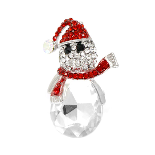 Pave Glass Stone Snowman Pin Brooch