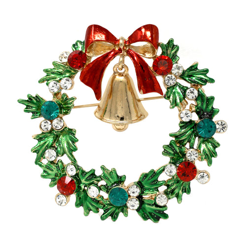 Bell With Bow Christmas Wreath Pin Brooch