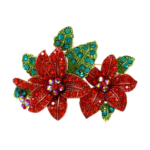 Pave Rhinestone Christmas Poinsettia Pin Brooch