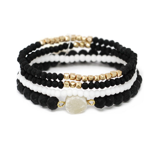 Synthetic Druzy Metal And Glass Beaded Stretch Bracelet Set