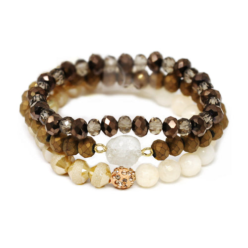 Synthetic Druzy Semi Precious Stone And Glass Bead Stretch Bracelet Set