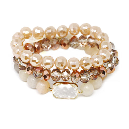 Semi Precious Stone And Glass Bead Stretch Bracelet Set