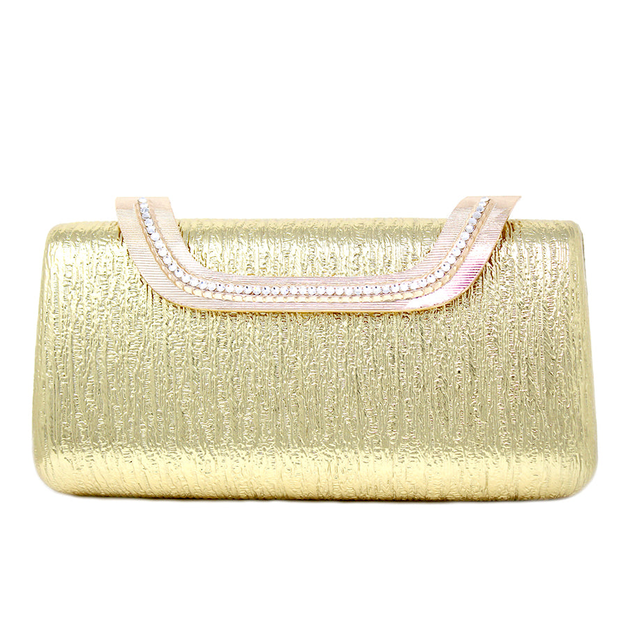 Metallic Faux Leather With Rhinestone Trimmed Hard Case Clutch Bag