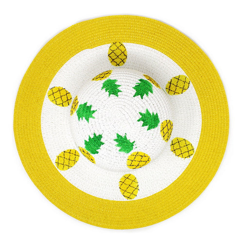 Pineapple Straw Floppy Hat