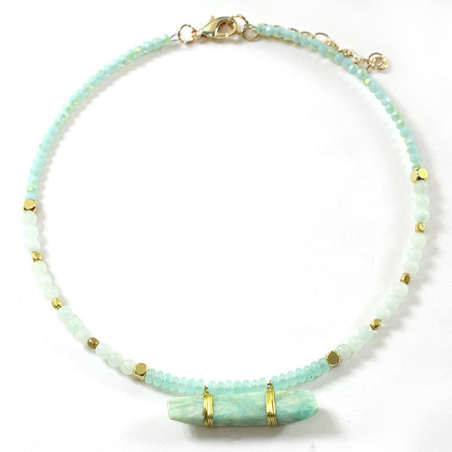 Natural Quartz Stone Seed Beads Choker Necklace