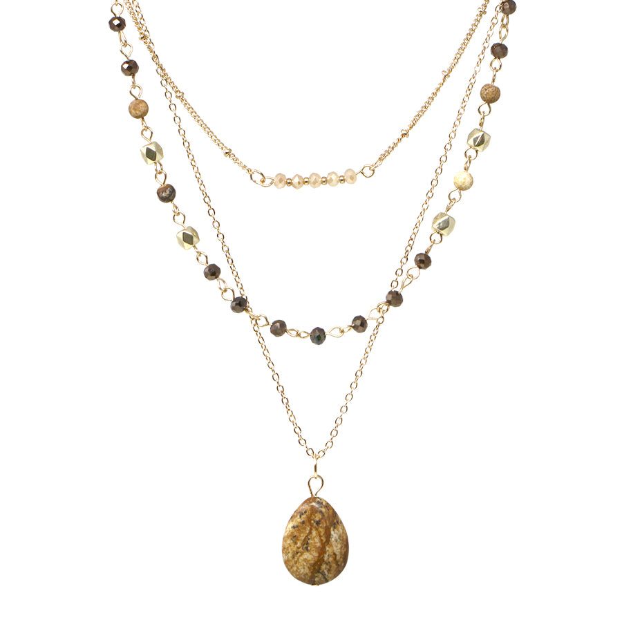 Natural Stone Pendant With Stone Beaded Layered Short Necklace