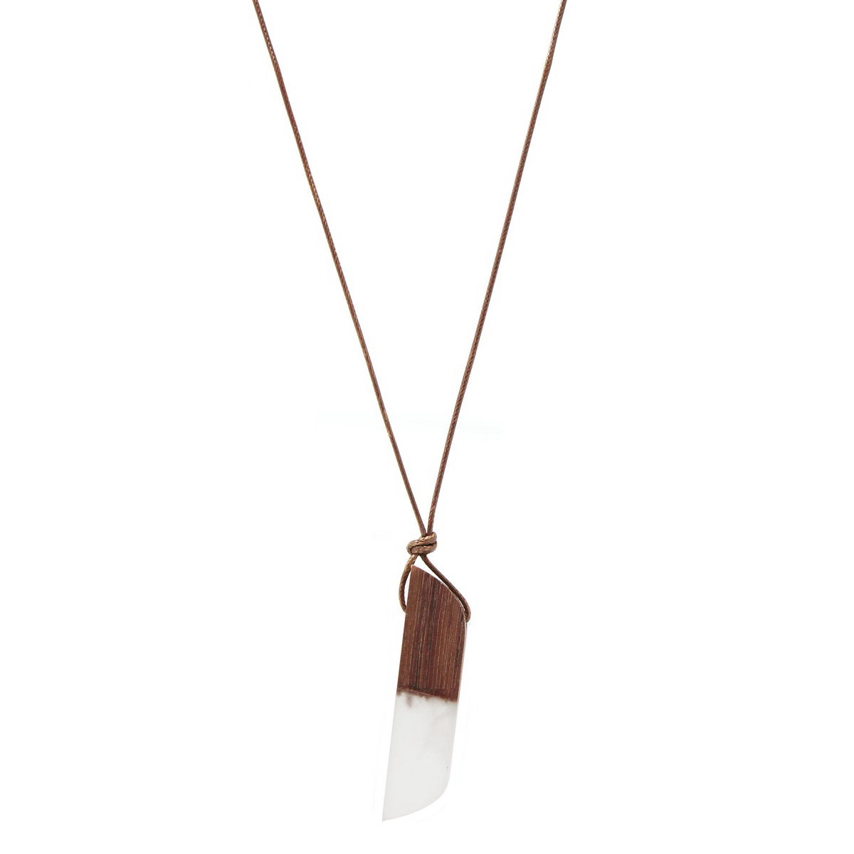 Geometric Acetate And Wood Blend Bar Pendant Long Cord Necklace