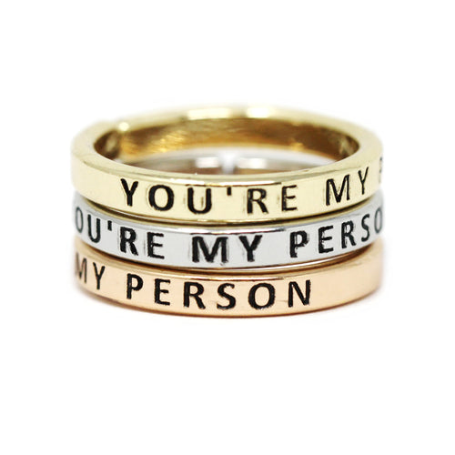 YOU'RE MY PERSON Inspirational Tri Tone Ring Set