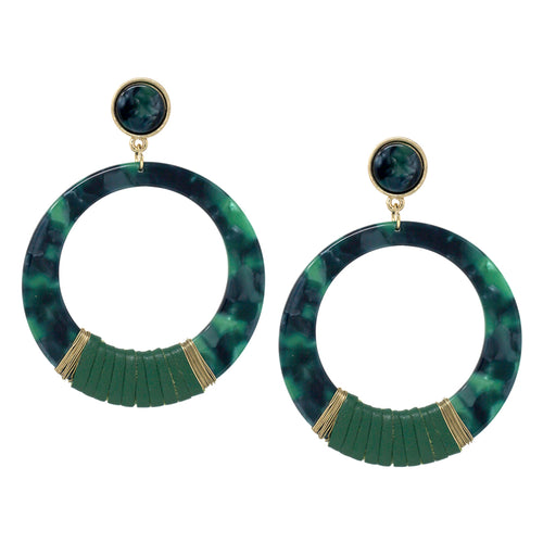 Leather Wrapped Acetate Hoop Drop Earrings