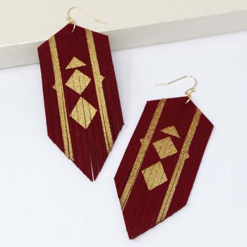 Gold Dusted Fringed Leather Drop Earrings