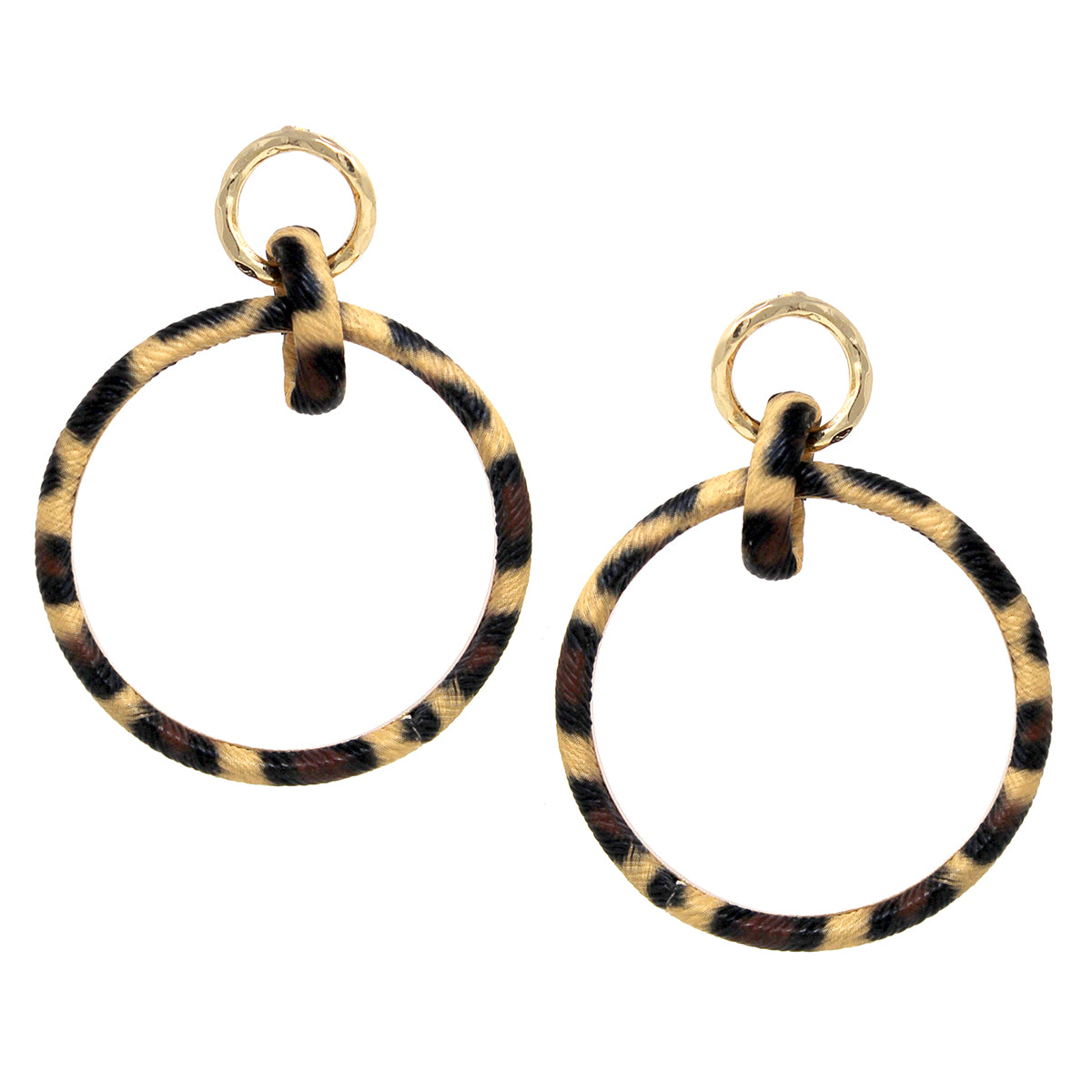 Animal Print Faux Leather Hoop Linked Drop Earrings