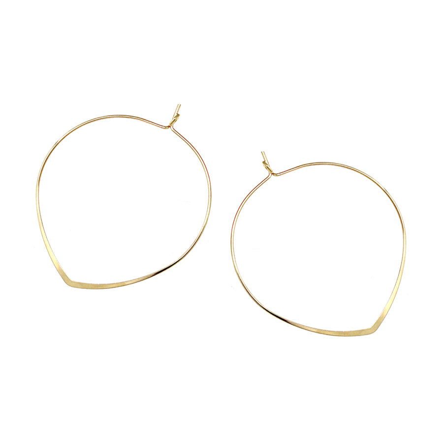 Leaf Shape Skinny Hoop Earrings