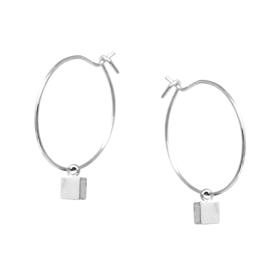 Sliding Mini Cube Charm Hoop Earrings
