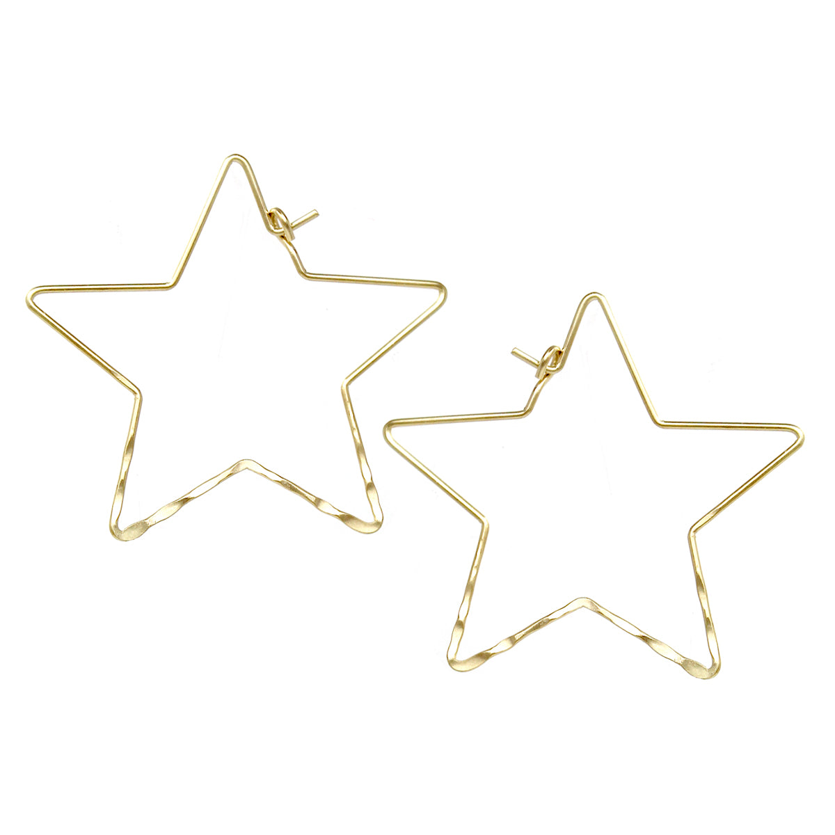 Hammered Star Shape Hoop Earrings