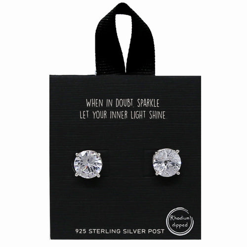 10mm Round Four Prong CZ Stud Earrings
