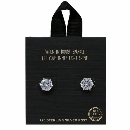 8mm Round Six Prong CZ Stud Earrings