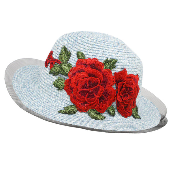 Embroidered Rose Patched Straw Summer Beach Hats