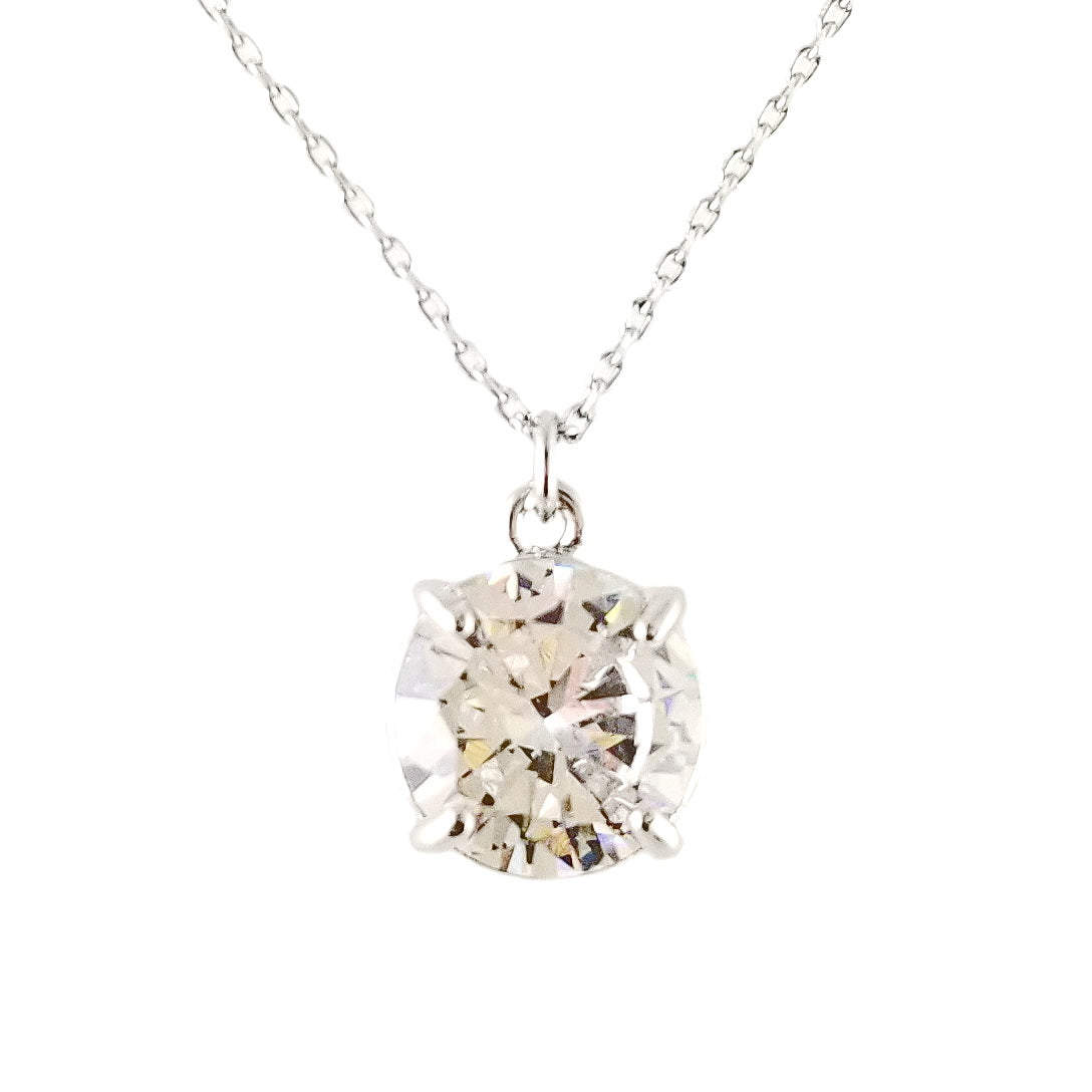 Cubic Zirconia Round Charm Simple Chain Necklace