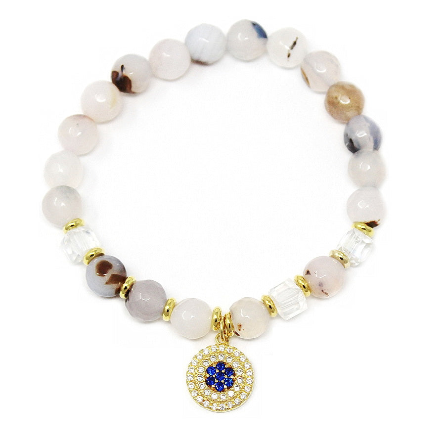 Cubic Zirconia Pave Evil Eye Disc Charm Natural Stone Beaded Stretch Bracelet