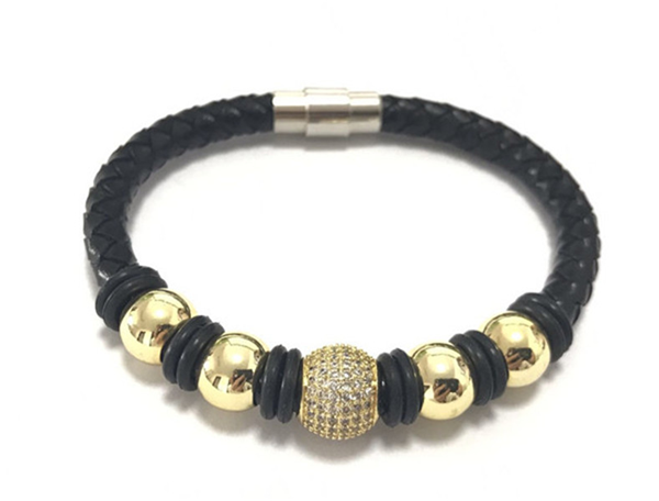 Faux Leather Metal Ball Magnetic Bracelet