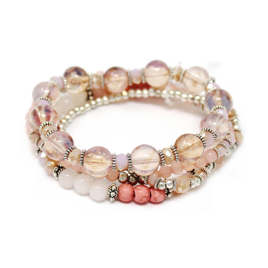 Glass And Metal Bead Stretch Bracelet Set
