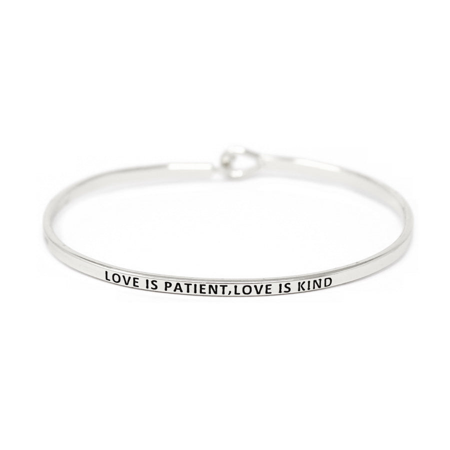 LOVE IS PATIENT, LOVE IS KIND Inspirational Message Bracelet