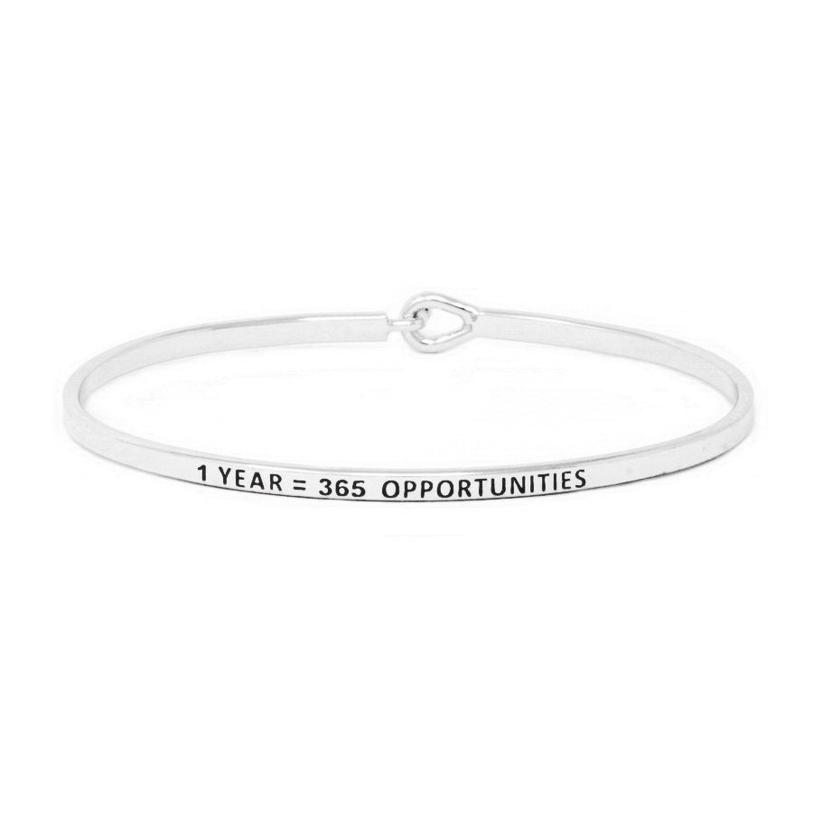 1 YEAR = 365 OPPORTUNITIES Inspirational Message Bracelet
