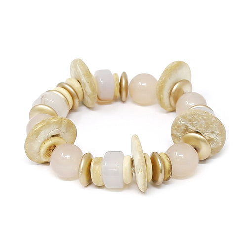 Glass And Wooden Disc Beaded Stretch Bracelet