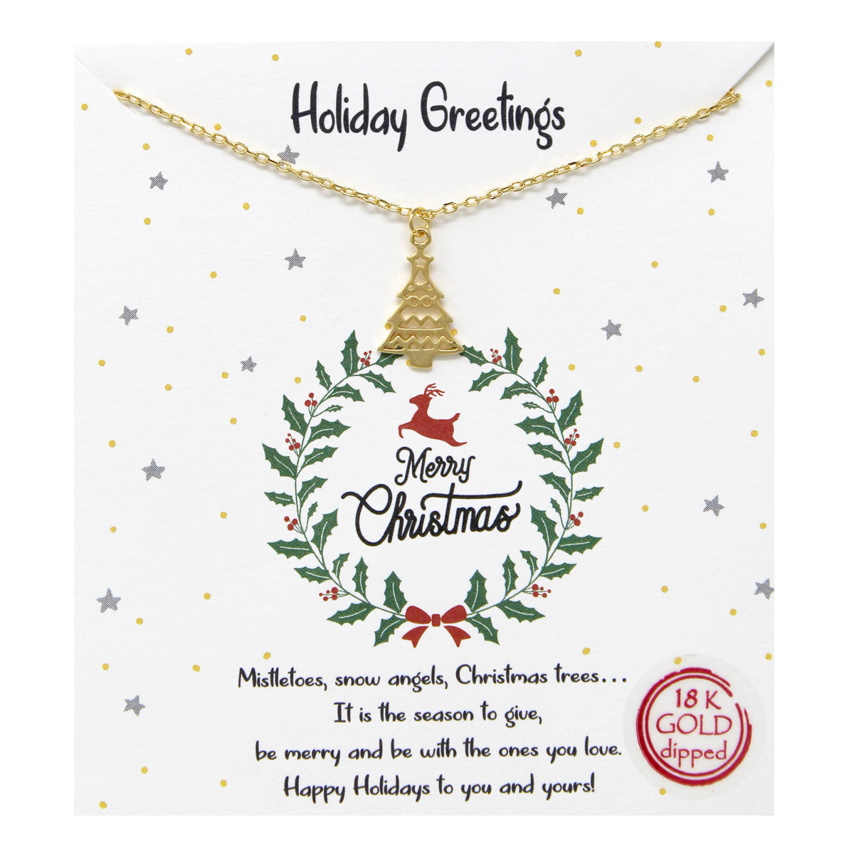 Tell Your Story: Holiday Greetings Christmas Tree Pendant Simple Chain Necklace