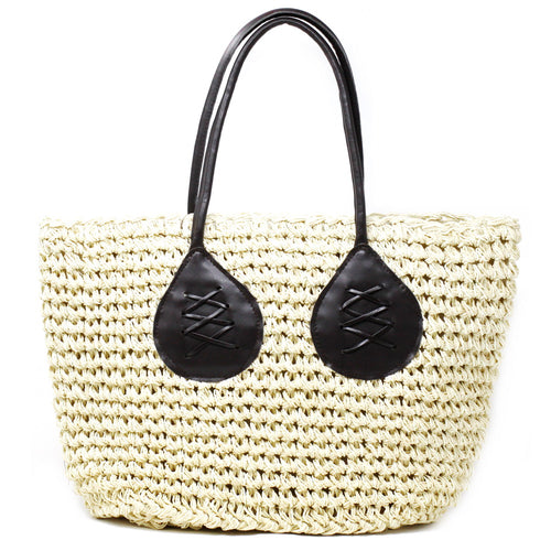 Woven Straw Bag With Leather Handles