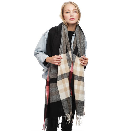 Plaid Check Scarf With Fringe Ends