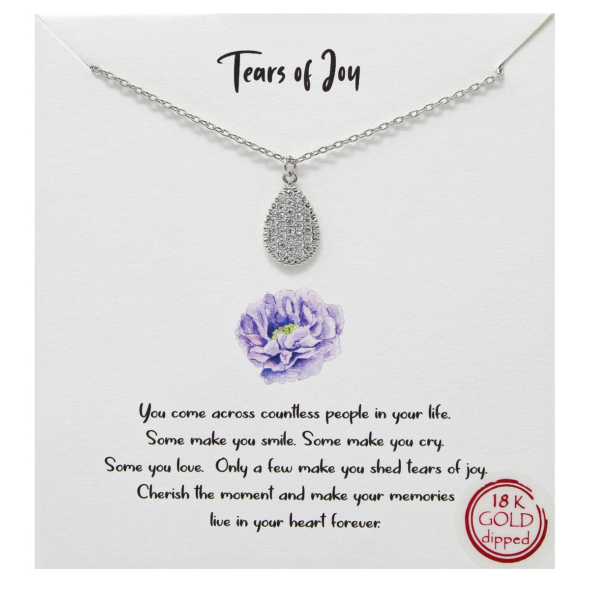 Tell Your Story: Tears Of Joy CZ Pave Pendant Simple Chain Necklace