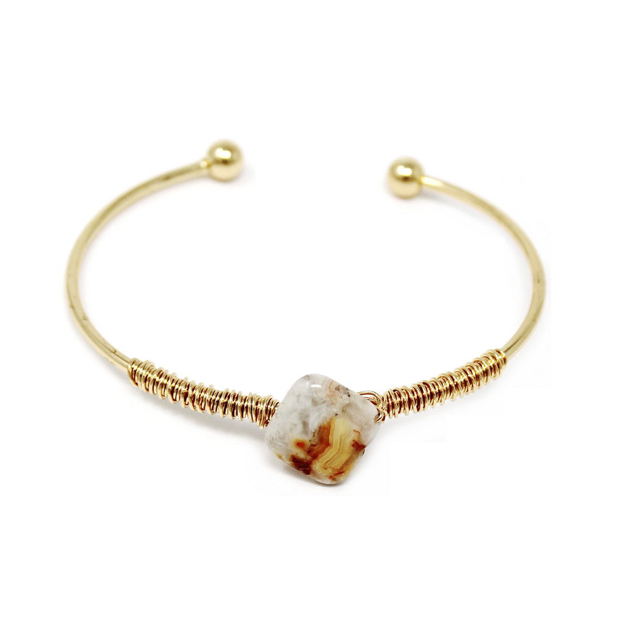 Natural Stone Charm Wired Cuff Bracelet