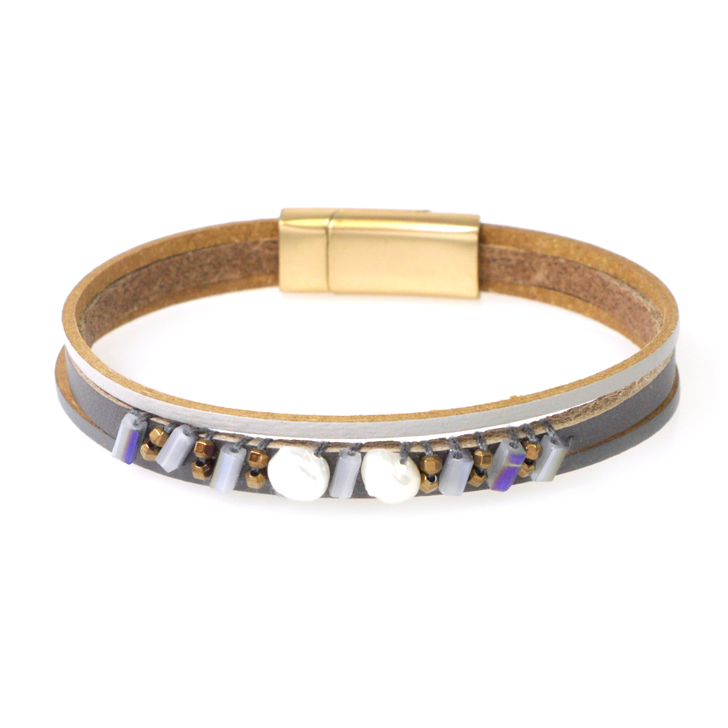 Beads Stone Genuine Leather Magnetic Bracelet