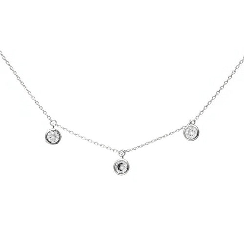 Triple CZ Stone Charm Collar Chain Necklace