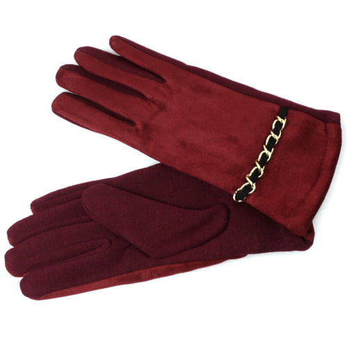 Chain Belt Deco Thermal Suede Gloves