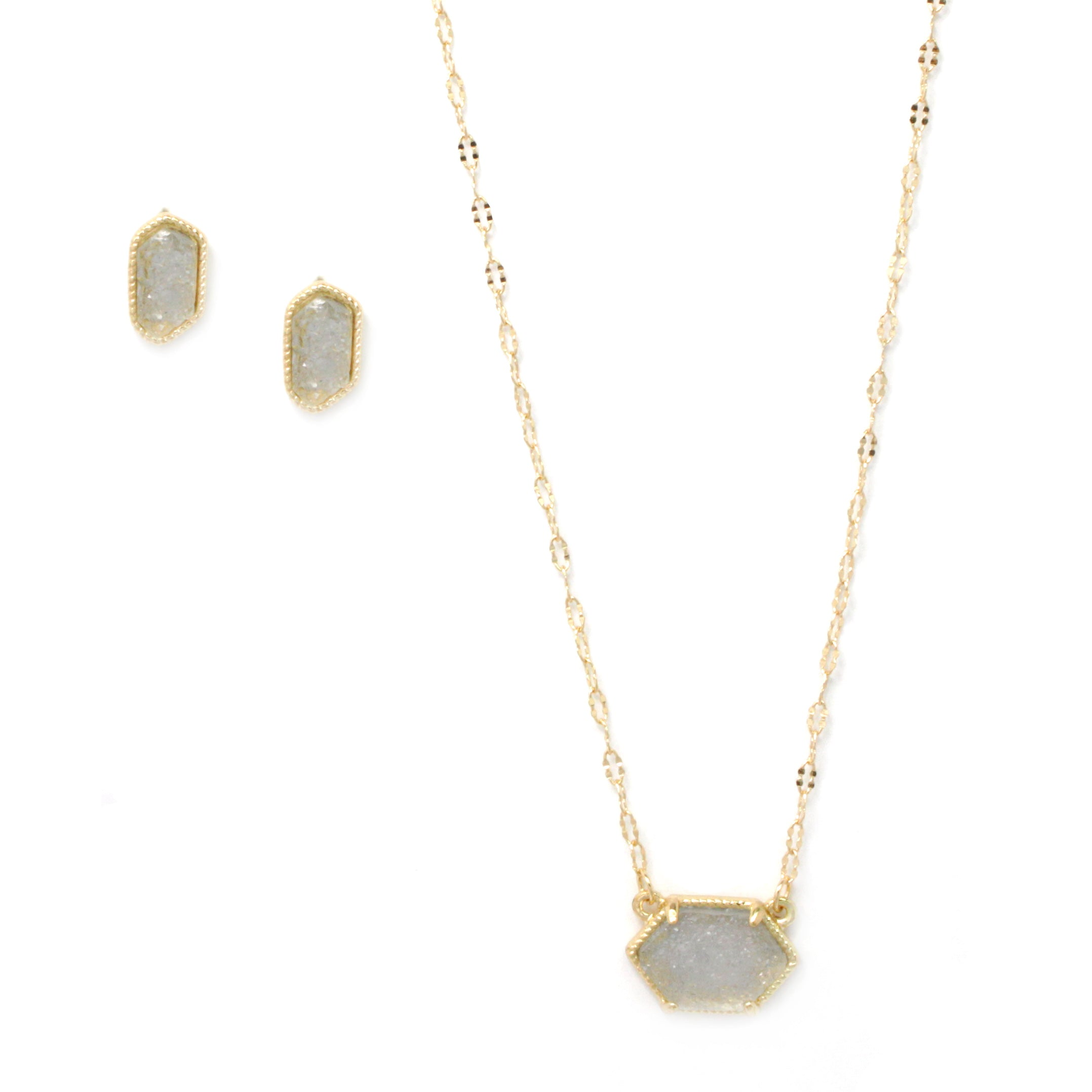 Druzy Geode Natural Stone Pendant Necklace Set