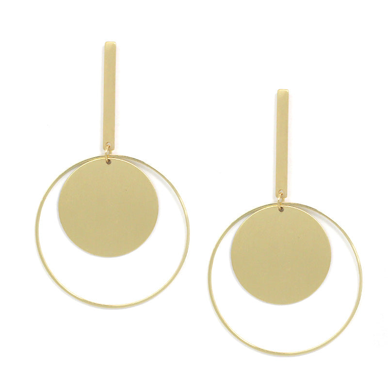 Geometric Urban Round Brass Earrings