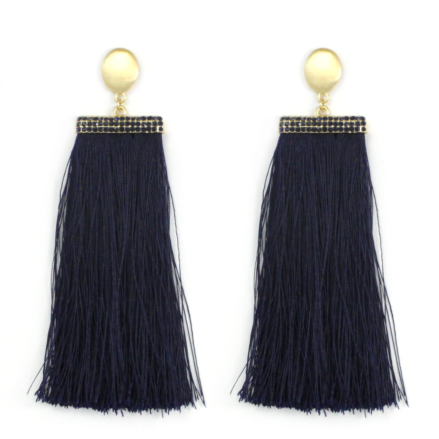 Glass Stone with Thread Tassel Earrings