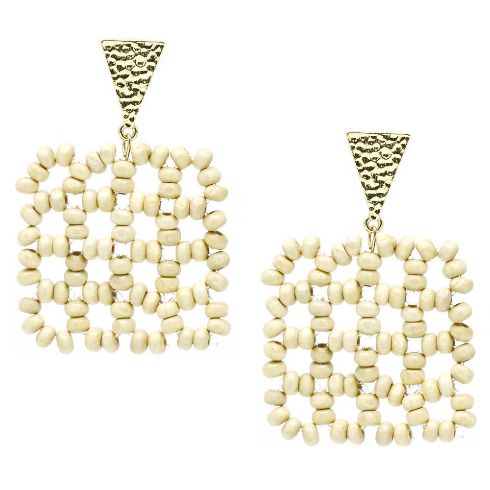 Lightweight Wood Beaded Geometric Square Earrings