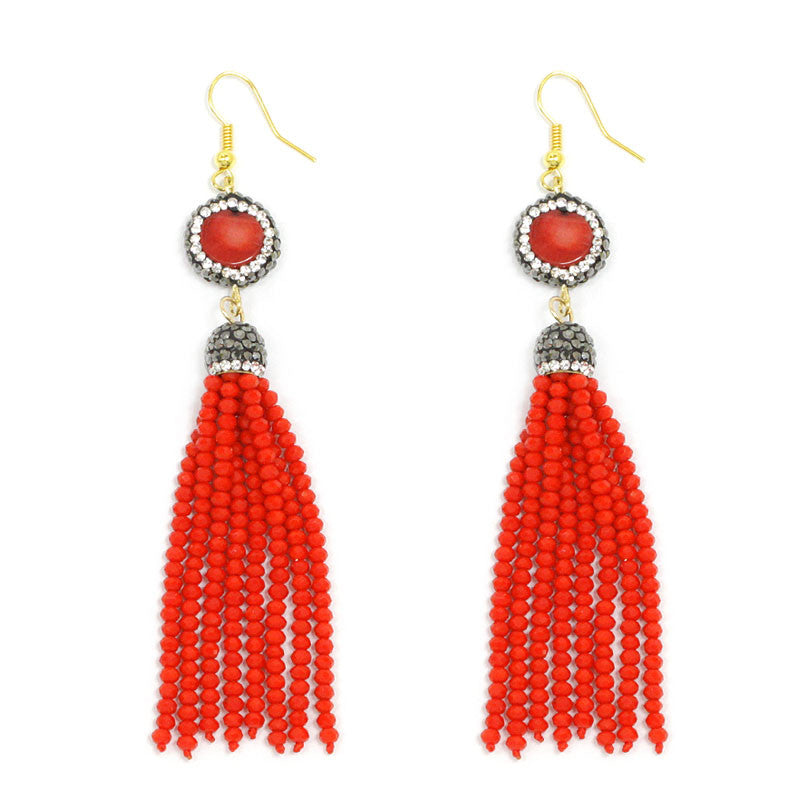 Natural Stone Seed Beads Tassel Earrings