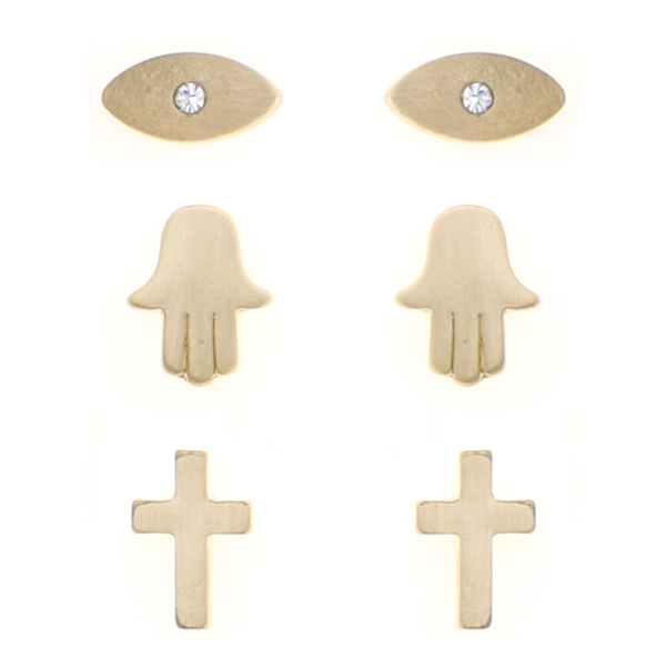 3 Pairs Mix Metal Studs Set